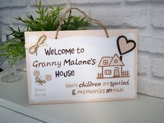 Welcome to Granny's House. Unique Grandma Present.Personalised Sign with Names for Home Personalized Plaques, Personalized Mother's Day Gifts, Handmade Gifts, Gifts For Mum, Mother Gifts, Granny Gifts, Valentines Art, School Signs, Wooden Signs