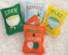 Set of 4 bags of frozen veggies felt play food by LinusAndFiona, $13.00