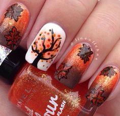 Fall Nails Tree Scene #nails #fallnails
