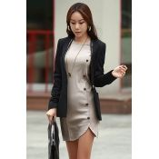 Fashion O Neck Long Sleeves Buckles Designed Asymmetrical Grey Sheath Mini Dress