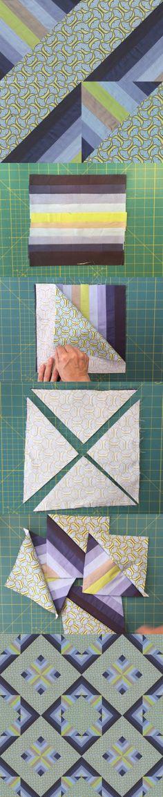 Half and Half Square Triangle quilt block