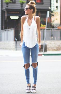 #summer #fashion ripped skinny jeans white tank top outfit