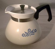 Corelle Cornflower Blue coffee/tea pot.  Mom used hers all the time!  I still have the whole set along with serving pieces and racks.