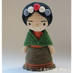 { This is a CROCHET pattern in a PDF file, NOT the finished toy. If your are looking for the finished Mini Frida doll, please contact me...}  This is the Mini version of my Frida crochet doll, also on sale at Amour Fous Etsy store. They are both tributes to the great Mexican artist…  This is a simple and detailed pattern, which was written for beginners too. If crocheted with a 3.00 mm hook, your finished Mini Frida should measure more or less 22 cm. Skills needed: crocheting in spiral…