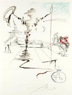 Don Quixote on an Infinite Landscape- Hand Signed Salvador Dali Lithograph #Prints