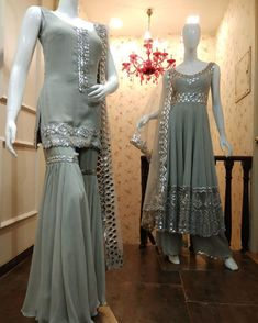Beautiful Anarkali Suit and Sharara set with beautiful embellishments. Beautiful Anarkali Suit and Sharara set with beautiful embellishments. Sharara Designs, Kurti Designs Party Wear, Pakistani Dress Design, Pakistani Dresses, Indian Dresses, Indian Outfits, Sarara Dress, Designer Party Wear Dresses, Indian Designer Suits