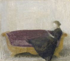 ✉ Biblio Beauties ✉ paintings of women reading letters & books - Vilhelm Hammershoi | Reclining lady on a sofa