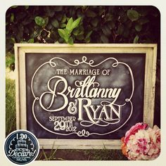 Shabby Chic Custom Wedding Chalkboard Art by IDoDeclareSigns,