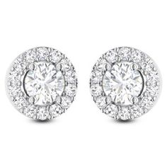 This earring is studded with solitaire and it's surrounded by brilliant round diamonds to make it attractive. Carry a new verve with this beautiful jewel encapsulated with a unique f Diamond Solitaire Earrings, Diamond Jewelry, 1 Carat, Designer Earrings, Round Diamonds, Studs, Jewlery, Bling, Stud Earrings