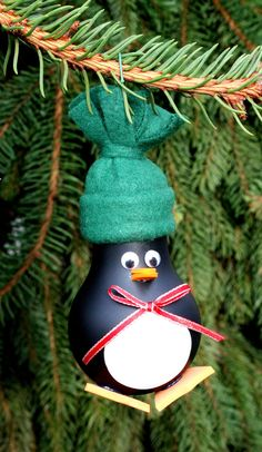 Penguin Christmas Tree Ornament  made from a recycled por WeaveNSew, $5.00
