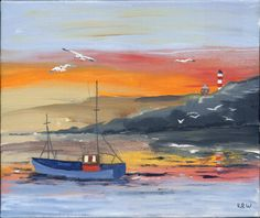 "Male, Age 6, Kieron Williamson. ""Cornish Fishing Boat, Lighthouse, & Gulls"" Acrylic 2008. Though the seagulls are not the primary subject of the painting, it was impossible to ignore this work. The seagulls in the foreground are nicely detailed and stand out from the rich, warm colors in the sky.  Kieron captures the movement of the gulls as they drift through the sky. With countless examples on his website, Kieron is keenly aware of his use of light, color, and scale."