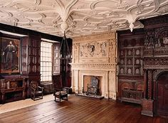 """The Great Oak Room of the Red Lodge in Bristol. """"Almost unaltered, it is among the most elaborate English interiors of its date."""" In 1574, Elizabeth I visited here, the home of Sir John Young."""