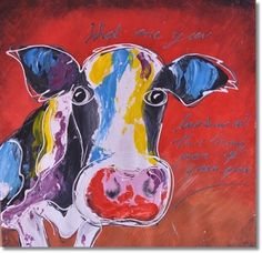 Schilderij The Cow Red - Kunstvoorjou. Tag Image, Cow, Canvas, Painting, Tela, Painting Art, Cattle, Paint, Draw