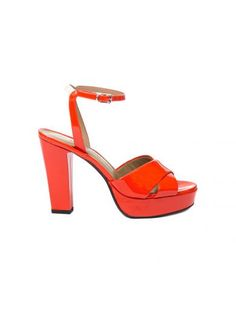 SONIA RYKIEL Orange Varnish Sandals. #soniarykiel #shoes #sandals