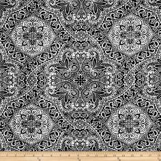 HGTV HOME Intricacy Flocked Black from @fabricdotcom  This medium weight cotton fabric has a nylon flocked design and is appropriate for window treatments and accent pillows. Colors include black and white. This fabric has 9,000 double rubs.