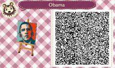 Shepard Fairey's Obama poster Animal Crossing:New Leaf QR code