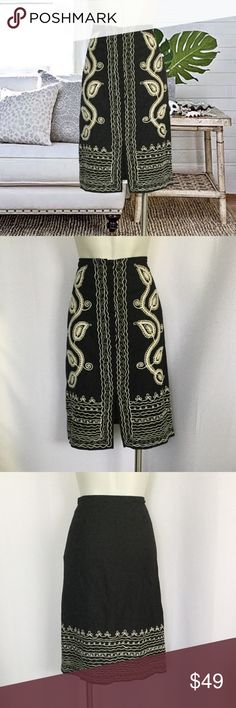 """NWOT BCBGMaxAzria Skirt Never used.  Spare button attached inside.  Measures about 14.5"""" across the waist and 25"""" length.  55% linen 45% rayon.  Beautiful embroidery detail, front slit, side zip with hook and eye and buttons on the front.  No trades. BCBGMaxAzria Skirts Midi"""