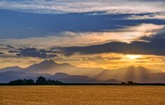 Pictures of Clouds and Sunsets: July Sunset and Long's Peak