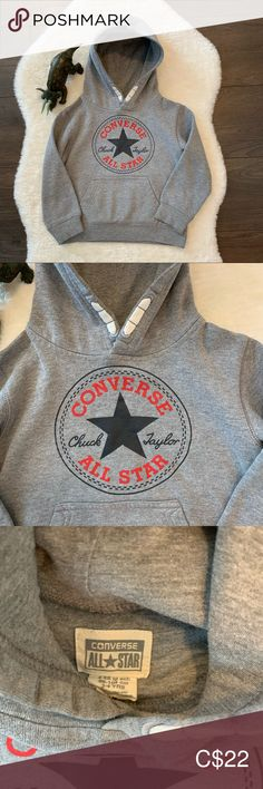 Kid's Converse Hoodie Converse Hoodie In excellent condition Perfect for Fall and winter Converse Shirts & Tops Sweatshirts & Hoodies Boys Converse, Shirts & Tops, Conditioner, Winter Colors, Hoodies, Sweatshirts, All Star, Gray Color, Sweatshirt