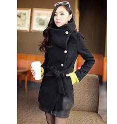 Womens Belted Tweed Pea Coat
