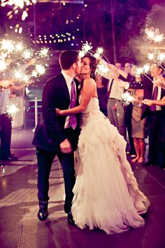 Sparkler send off for the bride and groom.