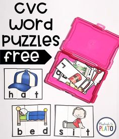 I can't wait to try these CVC Word Puzzles! They are the perfect literacy center for kindergarten. Kindergarten Language Arts, Kindergarten Centers, Kindergarten Reading, Literacy Centers, Preschool Kindergarten, Word Family Activities, Cvc Word Families, Phonics Activities, Word Puzzles For Kids