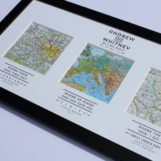 I've just found Personalised Map Wedding Art. A wonderful handmade wedding or anniversary map print with screen printed mount, 3 maps and framed.. £120.00