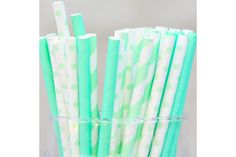 Straws - Mixed 75 Pack - Mint Stripes, Solids & Polka-Dot by Besotted