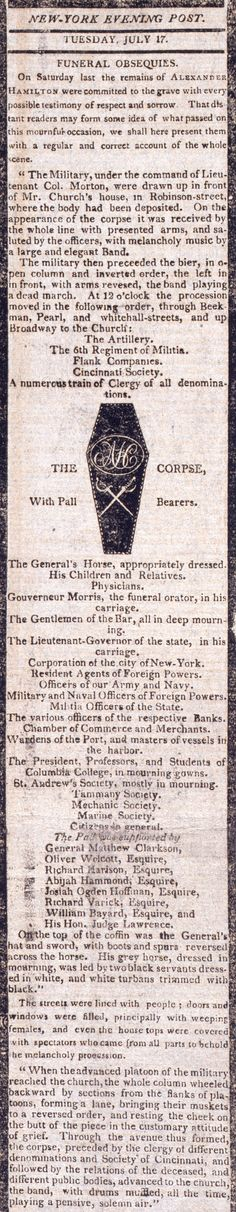 "July 12, 1804: Alexander Hamilton dies from gunshot wounds sustained the day before in his duel with Aaron Burr.  ""Funeral Line of March for Alexander Hamilton,"" from the New York Post, July 17, 1804.  NYHS Image #76466."