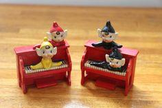 2 Vintage 1950's Christmas Ceramic Pixie Elf on Piano Figurines