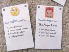 power cards for anger management, reminders and strategies for kids with autism Coping Skills, Social Skills, Anger Management, Classroom Management, Therapy Tools, Therapy Ideas, Art Therapy, Conscious Discipline, Classroom Behavior