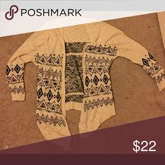 Tribal cardigan Beige and black tribal print cardigan Sweaters Cardigans