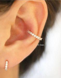 Solid Gold piercing/Earring/CZ hoop earring/Helix piercing/cartilage earring/Tragus piercing/Rook piercing/Snug piercing/Daith/Hoop - This listing is for 1 piece price. solid gold ear piercing / Single CZ hoop piercing / Tragus p - Piercing Snug, Tragus Piercings, Cute Ear Piercings, Orbital Piercing, Helix Earrings, Emerald Earrings, Bar Earrings, Cartilage Earrings, Men Accessories
