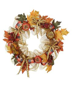 Look what I found on #zulily! Mesh Harvest Pumpkin Wreath #zulilyfinds