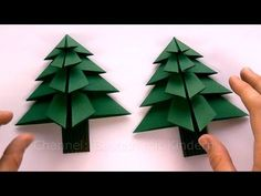 Origami Christmas tree: Paper christmas decorations - Christmas Crafts - Easy tutorial - DIY - Weihnachtsbasteln: Tanne basteln als Weihnachtsdeko – Weihnachtsdekoration selber machen – YouT - Origami Tree, Origami Christmas Tree, Paper Christmas Decorations, Origami Stars, Diy Christmas Cards, Christmas Paper, Christmas Tree Ornaments, Diy Origami, Tree Decorations