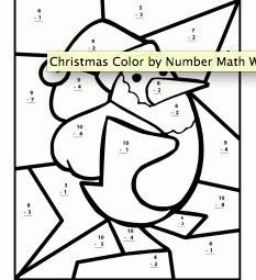 Printables 1st Grade Christmas Math Coloring Worksheets color by number math worksheet gingerbread man first grade these christmas themed worksheets for elementary schoolers are level addition sums in double digits from 1 subtract