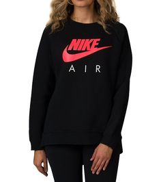 NIKE+Rally+Crew+neck+Sweatshirt+Long+sleeves+Ribbed+cuffs+NIKE+logo+graphic+Curved+dropped+hem+for+coverage+Solid+color+back