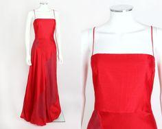TAHARI RED SILK BLEND SPAGHETTI STRAP BUBBLE HEM LONG EVENING DRESS SZ 10 #Tahari #Formal
