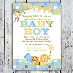Safari Baby Shower Invitations Jungle Animal por BigDayInvitations, $12.49