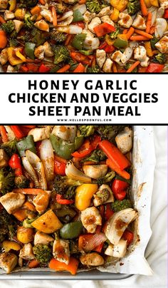 Sheet pan honey garlic chicken & veggies is an easy weeknight dinner that's perfect for meal prep! Prepared on a lined baking sheet for easy clean up. Recipe Sheets, Sheet Pan Suppers, Cooking Recipes, Healthy Recipes, Healthy Food, Healthy Eating, Healthy Cooking, Yummy Recipes, Free Recipes