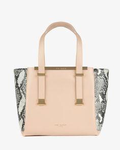 Exotic leather shopper bag