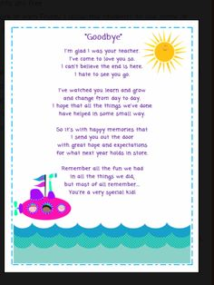 F Dcd B Edd C B Ed C Goodbye Poem Leaving Gifts on preschool graduation letter to children