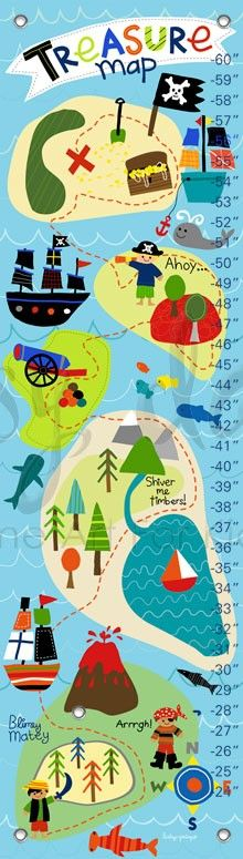 Pirate's Treasure Map, Personalized Growth Charts | Oopsy daisy
