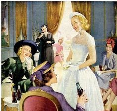 1949 1940s Wedding, Coca Cola Ad, Blemish Remover, Vintage Coke, Old Ads, Life Magazine, Color Correction, Pictures, Painting