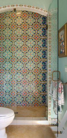 Moroccan Tile Bathroom, Eclectic Bathroom, Bathroom Styling, Bathroom Interior Design, Patterned Tile Bathroom Floor, Morrocan Floor Tiles, Ceramic Tile Bathrooms, Spanish Style Bathrooms, Spanish Bathroom