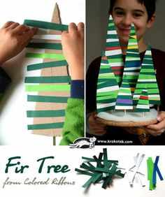 Trees using ribbon... I would do it with colored masking/duct tape