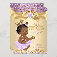 Invitación Lilac Gold Ballerina Princesa Baby Shower Étnica