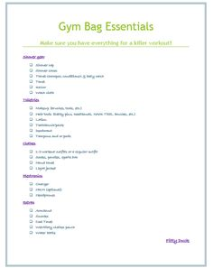 Gym Bag Essentials Checklist