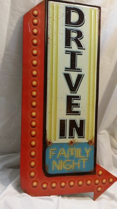 Drive In family night metal sign retro man cave movie cinema http://stores.ebay.com/clockworkalpha/