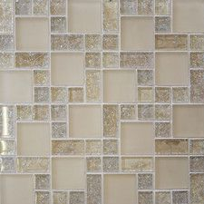 Ice Crackle Random Sized Glass Mosaic Tile in Cream